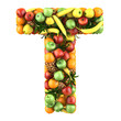 Letter - T made of fruits. Isolated on a white.