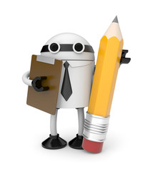 Robot with clipboard and pencil