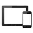 Tablet pc and mobile phone with blank screen isolated
