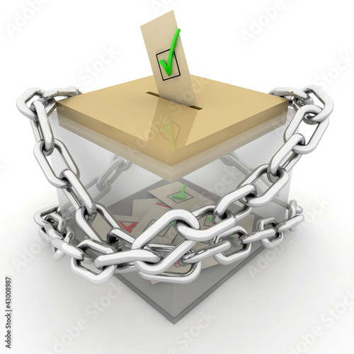 Ballot box isolated on white with chain