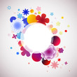 abstract colored vector background with flowers and bubbles