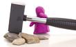 Knetgummifigur mit Hammer / Modelling clay with a sledge