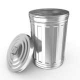 3d illustration of Steel trash can