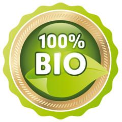green button 100% bio with leaf