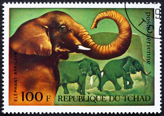 Postage stamp Chad 1972 African Elephants, African Wild Animals