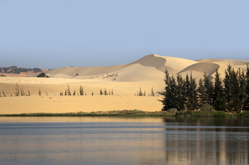 sand dunes with thw lake in Vietnam