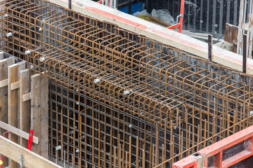 Steel bars ready for reinforced concrete foundation