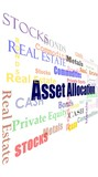 Financial concept asset allocation word cloud poster