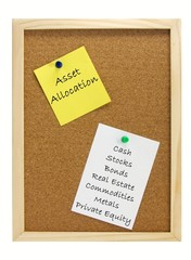 Asset Allocation notes on a wooden pin board