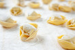 Making homemade tortellini