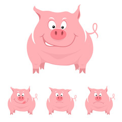 Funny cartoon pig with various emotions. Vector illustration