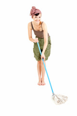 cheerful young woman with mop cleaning floor, full length