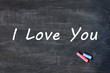 I love you - written with chalk on a Smudged blackboard