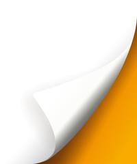 umgebogenene Ecke oranger hintergrund