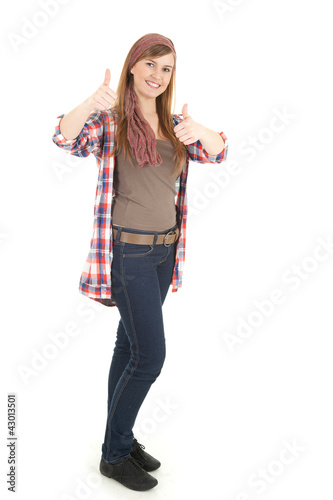 teenager woman with thumbs up, full length
