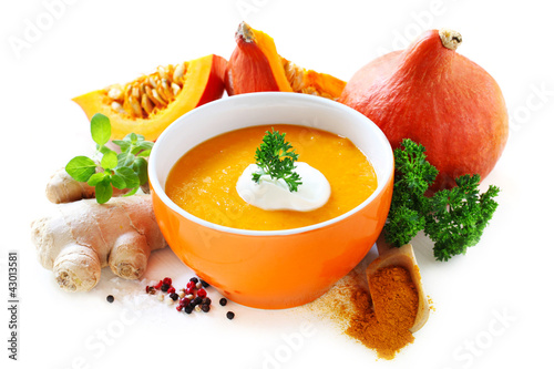 Pumpkin Soup with Ingredients