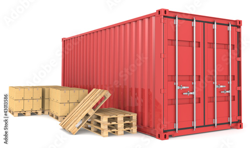 Red Cargo Container, pallets and cardboard boxes.