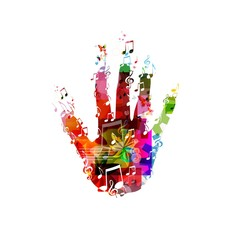 colorful music hand vector