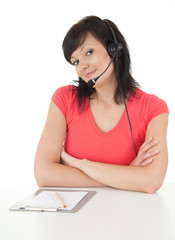 telemarketing headset woman from call center smiling
