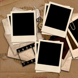 Vintage  background with polaroid frames