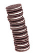 Stack of chocolate cream filled cookies isolated on white