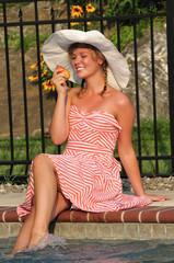 teen girl eating a summer fruit
