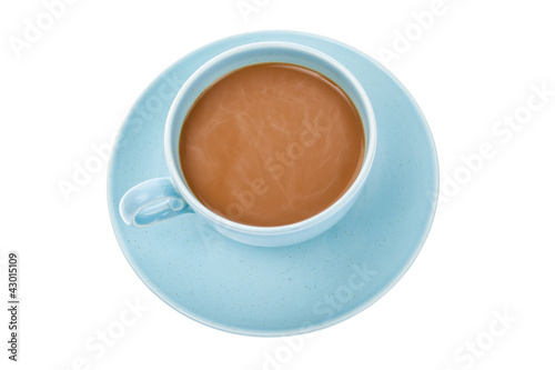 Top view of a cup of coffee isolated on white