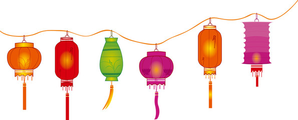 string of bright hanging lantern decorations on white