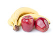 Red apples and banana bunch, white background
