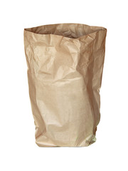 used recycle paper bag isolated white
