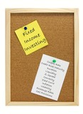 Fixed income investing notes on pin board poster
