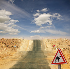 """""""Achtung Kamele"""":  Straßenschild in der Sahara"""