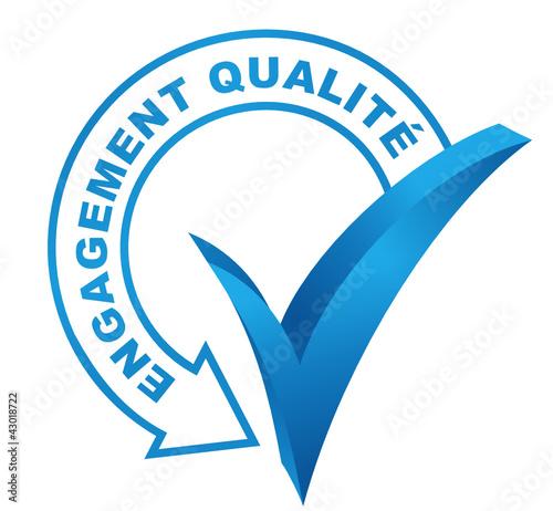 engagement qualité sur symbole validé bleu