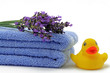 badetücher mit lavendel und ente