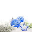 Christmas decoration with baubles star and snowflakes