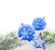 Christmas blue baubles and star with snowflakes