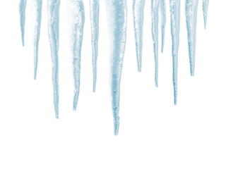 Icicles isolated on white background