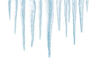 Icicles isolated on white background