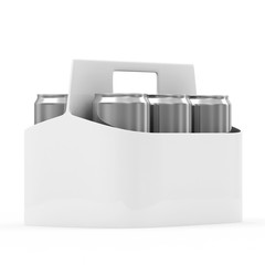 Packaging of Beer Cans isolated on white background