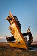 wooden trawler wreck on Fleetwood Marsh, UK