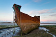 Rusting trawler on Fleetwood Marsh, UK