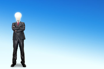 A business man bulb standing over the background