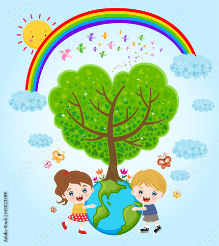 Fotobehang Regenboog children hugging the earth