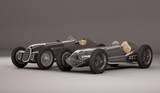 Antique black racing cars