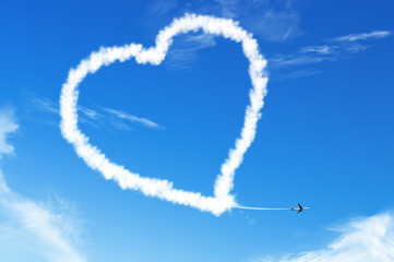 LOVE HEART cloud on the blue sky