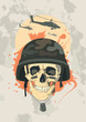 Military design template with human skull