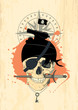 Pirate design template with ghost skull