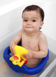 Baby relieving itchy rash in bath