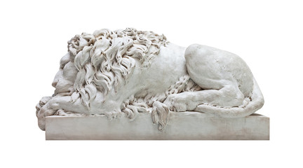 Ancient marble statue of a male lion isolated on white
