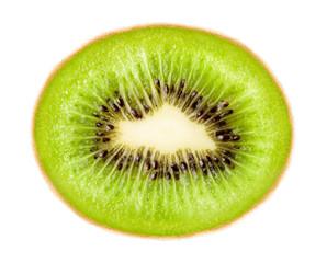ripe green kiwi isolated on white background